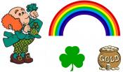 Leprechaun, rainbow, pot of gold, shamrock